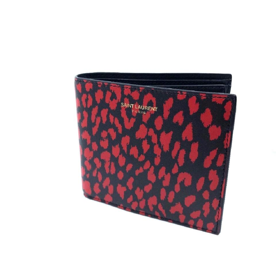 86241ae400 Saint Laurent Black Ysl Women's Babycat Leather Boxeur Washed Red 315865  Wallet