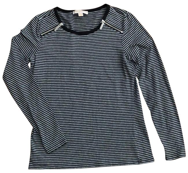 Item - Navy and Gray Striped Stretch Zipper Detail Tunic Size 6 (S)
