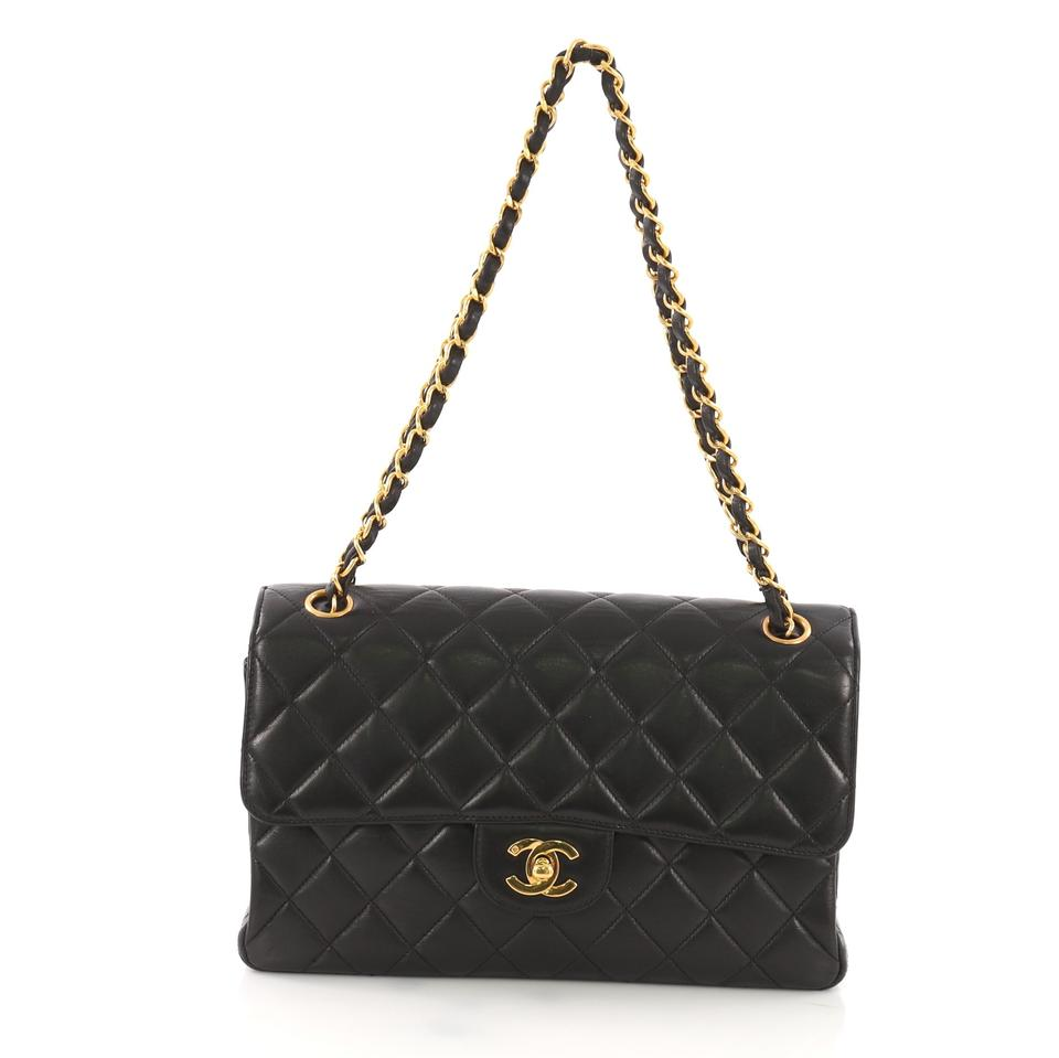 43a02cfef886 Chanel Classic Flap Vintage Double Sided Quilted Small Black Lambskin  Leather Shoulder Bag