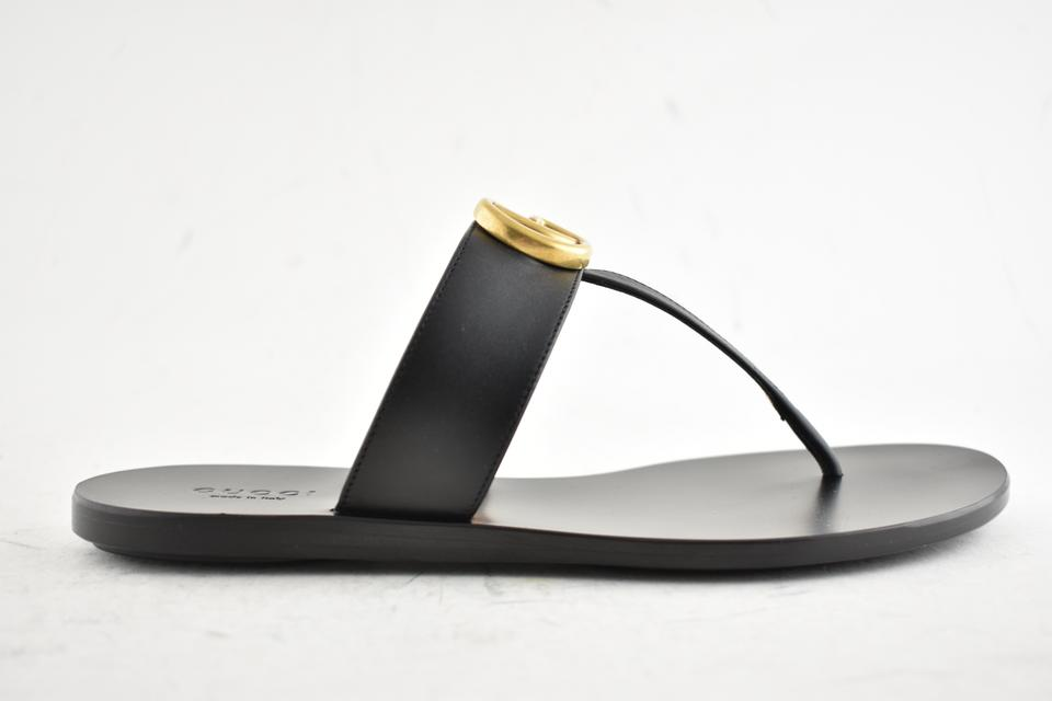 ad80005a5 Gucci Black Marmont Gg Gold Logo Mule Thong Slide Flat Flip Flop Sandals  Size EU 35 (Approx. US 5) Regular (M
