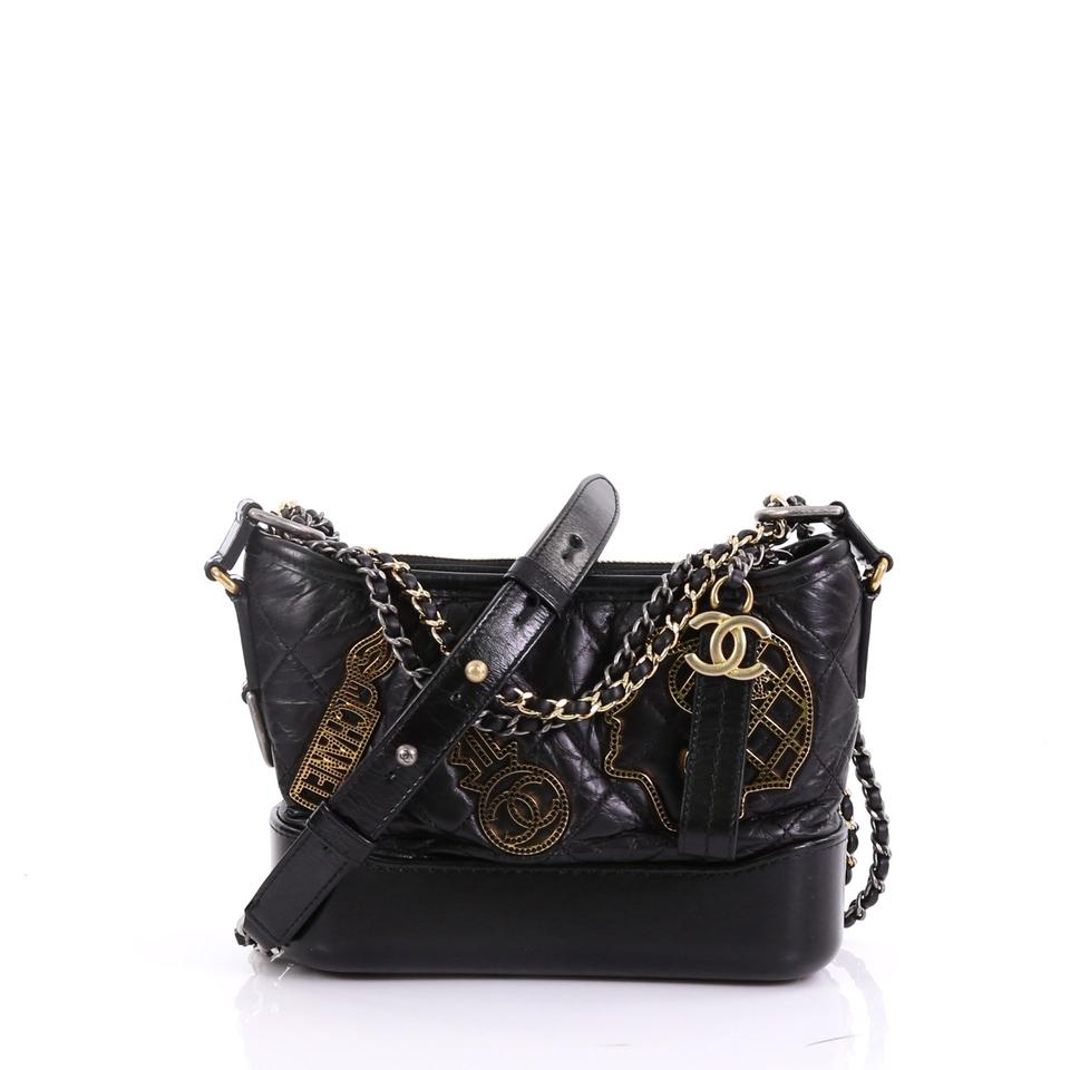 d6bc9bcd7b31 Chanel Gabrielle Hobo Embellished Quilted Aged Small Black Calfskin Leather  Hobo Bag