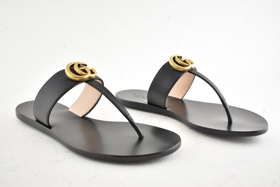 db67a3a12754 Gucci Black Marmont Gg Gold Logo Mule Thong Slide Flat Flip Flop Sandals  Size EU 35.5 (Approx. US 5.5) Regular (M