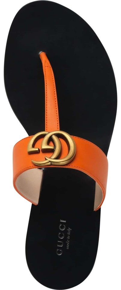 7eeb719f2b26 Gucci Orange Marmont Deep Gg Gold Logo Black Mule Thong Flat Flip ...