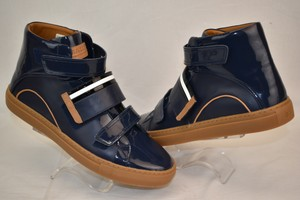 Bally Blue Herick Ink Patent Leather Hi Top Stripe Logo Sneakers 8.5 Us 41.5 Shoes