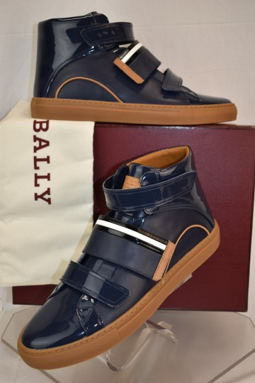 Bally Blue Herick Ink Patent Leather Hi Top Stripe Logo Sneakers 8.5 Us 41.5 Shoes Image 1