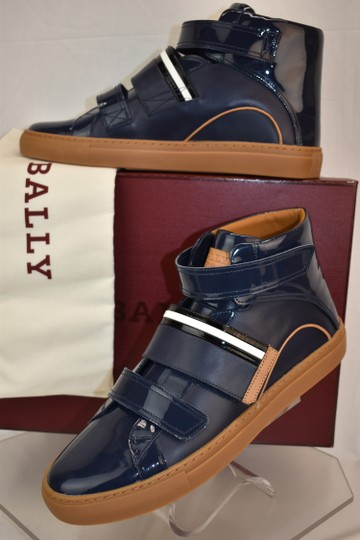 Bally Blue Herick Ink Patent Leather Hi Top Stripe Logo Sneakers 8.5 Us 41.5 Shoes Image 2