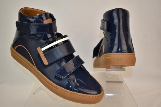 Bally Blue Herick Ink Patent Leather Hi Top Stripe Logo Sneakers 8.5 Us 41.5 Shoes Image 3