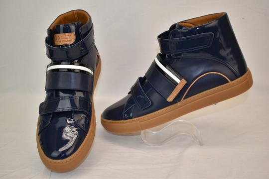 Bally Blue Herick Ink Patent Leather Hi Top Stripe Logo Sneakers 8.5 Us 41.5 Shoes Image 4