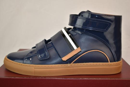 Bally Blue Herick Ink Patent Leather Hi Top Stripe Logo Sneakers 8.5 Us 41.5 Shoes Image 5