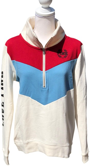 Preload https://item4.tradesy.com/images/pink-cream-blue-and-red-half-zip-pullover-sweatshirthoodie-size-4-s-25018308-0-2.jpg?width=400&height=650