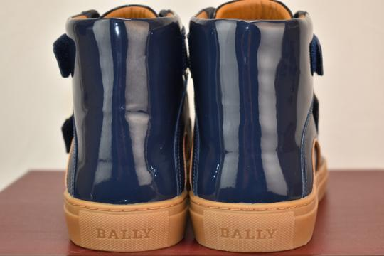 Bally Blue Herick Ink Patent Leather Hi Top Logo Sneakers 10.5 Us 43.5 Shoes Image 4