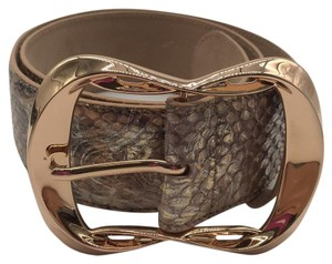 Alexander McQueen Alexander McQueen Rose Gold Metallic Embossed Wide Belt Size 30/75