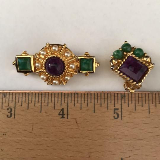 Other Jade Amethyst Pearl Pin/Earrings Image 7