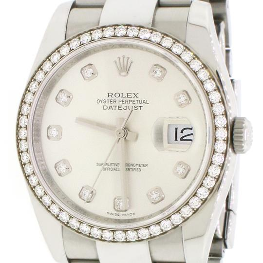 Rolex Datejust Factory Diamond Dial & Bezel White Gold/SS 36mm Box Papers Image 8