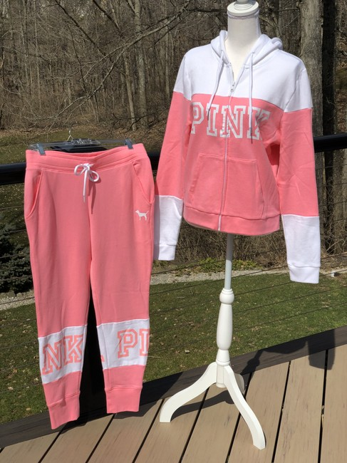 PINK Athletic Pants Pink and white Image 3