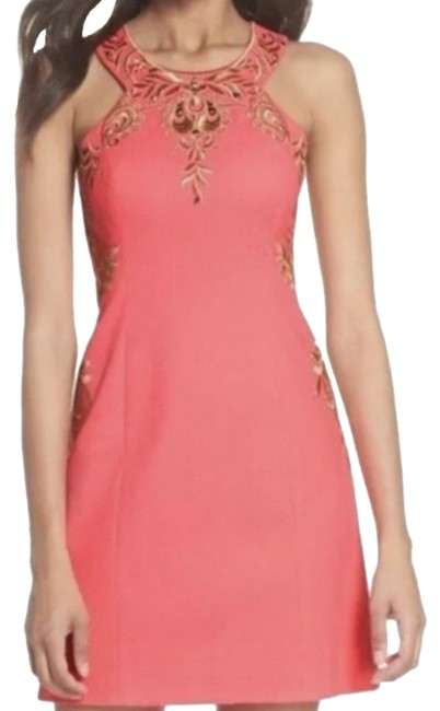 Preload https://img-static.tradesy.com/item/25018448/lilly-pulitzer-pink-coral-sunset-tina-stretch-shift-short-cocktail-dress-size-0-xs-0-1-650-650.jpg