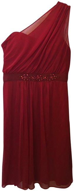 Adrianna Papell One Shoulder Chiffon Sweetheart Neckline New With Tags Dress Image 0