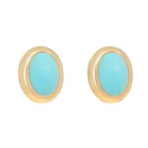 Other 14K Yellow Gold 1980's Turquoise Clip On Earrings