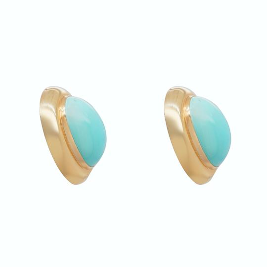 Other 14K Yellow Gold 1980's Turquoise Clip On Earrings Image 1
