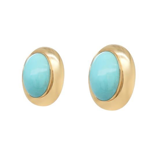 Other 14K Yellow Gold 1980's Turquoise Clip On Earrings Image 2