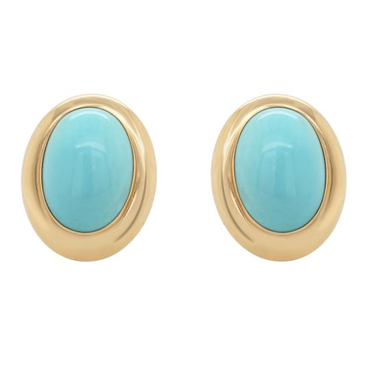 Other 14K Yellow Gold 1980's Turquoise Clip On Earrings Image 3