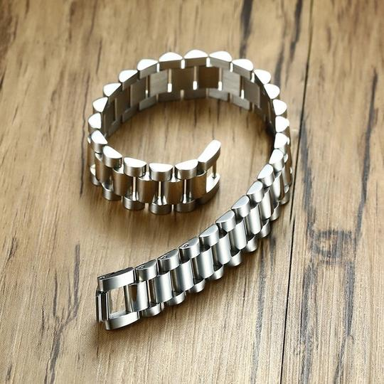 Other Gent's Solid Stainless Steel Jubilee Watch Band Style Bracelet for Men Jewelry Golden Silverly 15MM Wide 8.8 Inches Image 1