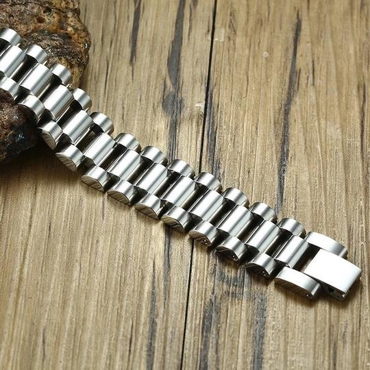 Other Gent's Solid Stainless Steel Jubilee Watch Band Style Bracelet for Men Jewelry Golden Silverly 15MM Wide 8.8 Inches Image 2