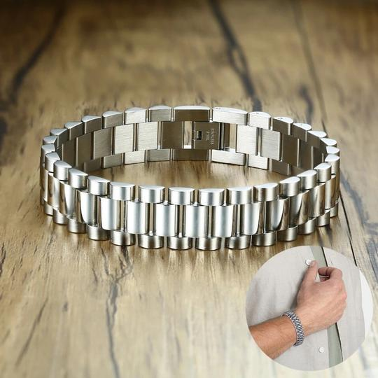 Other Gent's Solid Stainless Steel Jubilee Watch Band Style Bracelet for Men Jewelry Golden Silverly 15MM Wide 8.8 Inches Image 4