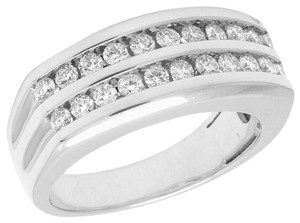 Jewelry Unlimited 10K White Gold Real Diamond Mens Two Row Channel Set Ring 1.10 CT