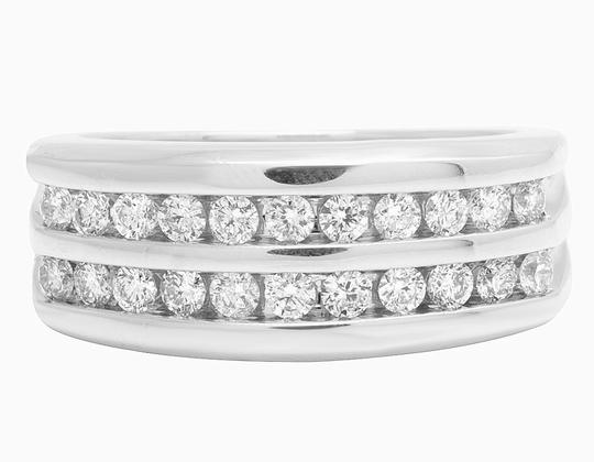 Jewelry Unlimited 10K White Gold Real Diamond Mens Two Row Channel Set Ring 1.10 CT Image 1