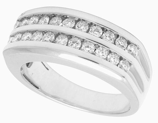 Jewelry Unlimited 10K White Gold Real Diamond Mens Two Row Channel Set Ring 1.10 CT Image 3
