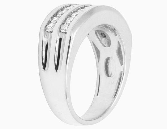 Jewelry Unlimited 10K White Gold Real Diamond Mens Two Row Channel Set Ring 1.10 CT Image 4