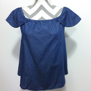 J.Crew Chambray Off The Shoulder Drawstring Top Blue