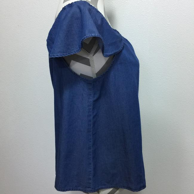 J.Crew Chambray Off The Shoulder Drawstring Top Blue Image 1