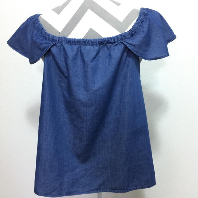J.Crew Chambray Off The Shoulder Drawstring Top Blue Image 2