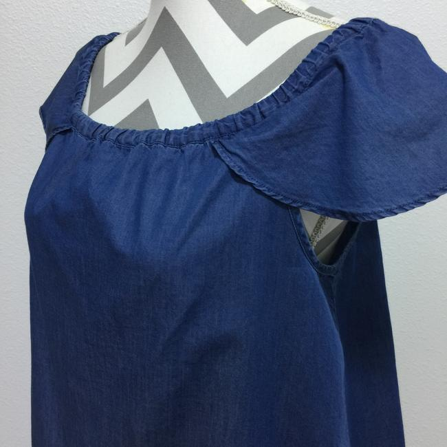 J.Crew Chambray Off The Shoulder Drawstring Top Blue Image 3