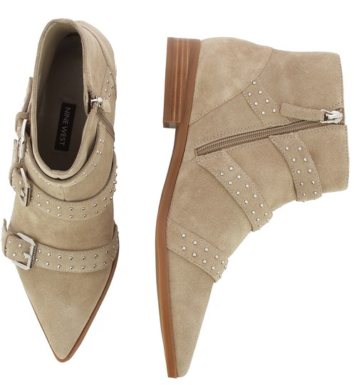 Nine West Pointed Toe Ankle Suede Taupe Boots Image 3