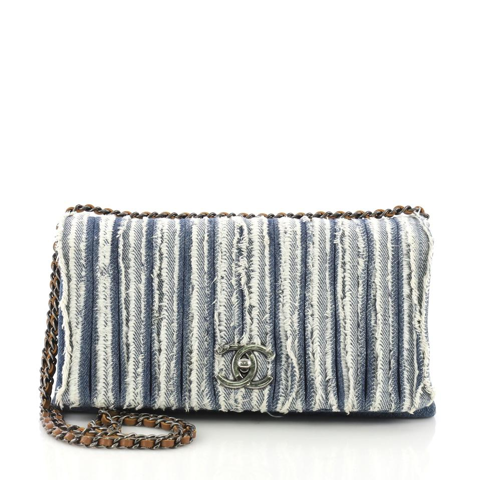 c75cac98f67e Chanel Classic Flap Cc Chain Fringe Medium Blue Denim Cross Body Bag ...