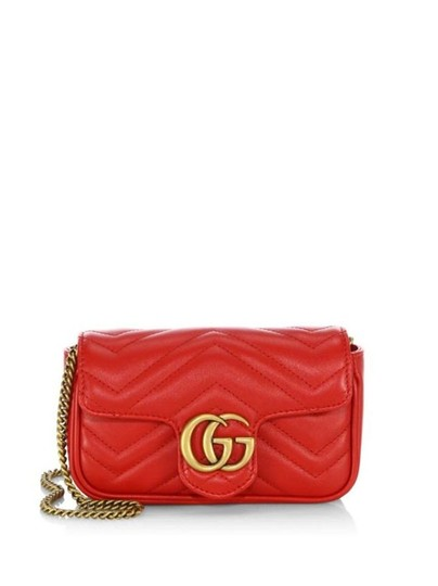 5e86ab1b3202 Gucci Flap Marmont Super Mini Red Lambskin Leather Cross Body Bag ...