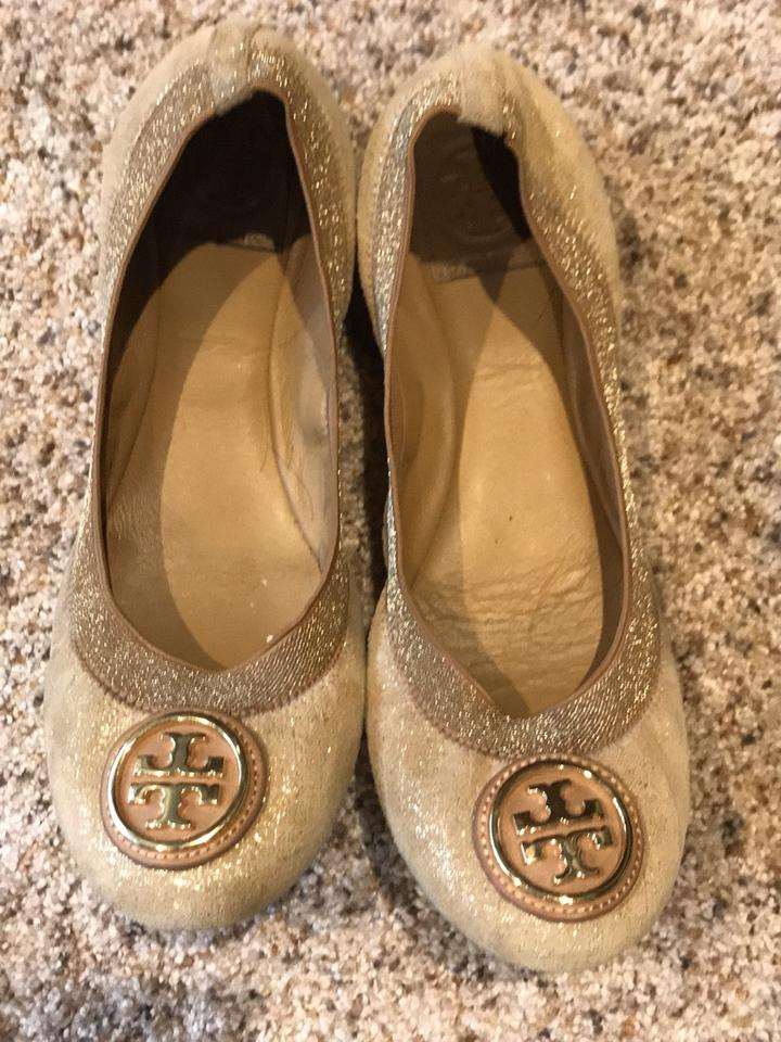 f45df5265410 Tory Burch Gold and Tan Shimmer Flats Size US 8 Regular (M