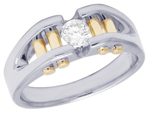 Jewelry Unlimited 14K Two Tone Gold Real Diamond Mens Solitaire Gold Bar RIng 0.40 CT