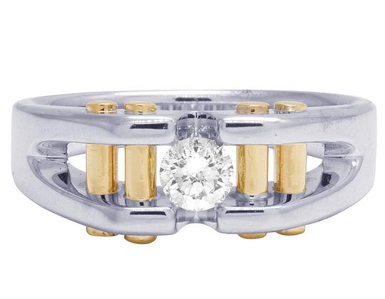 Jewelry Unlimited 14K Two Tone Gold Real Diamond Mens Solitaire Gold Bar RIng 0.40 CT Image 1