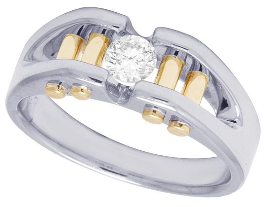 Jewelry Unlimited 14K Two Tone Gold Real Diamond Mens Solitaire Gold Bar RIng 0.40 CT Image 3