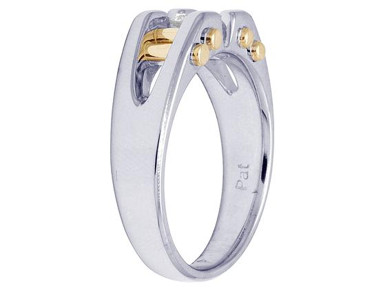 Jewelry Unlimited 14K Two Tone Gold Real Diamond Mens Solitaire Gold Bar RIng 0.40 CT Image 4