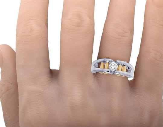 Jewelry Unlimited 14K Two Tone Gold Real Diamond Mens Solitaire Gold Bar RIng 0.40 CT Image 5
