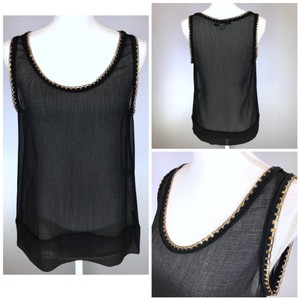 Diane von Furstenberg Chain Sheer Silk Date Top Black Gold