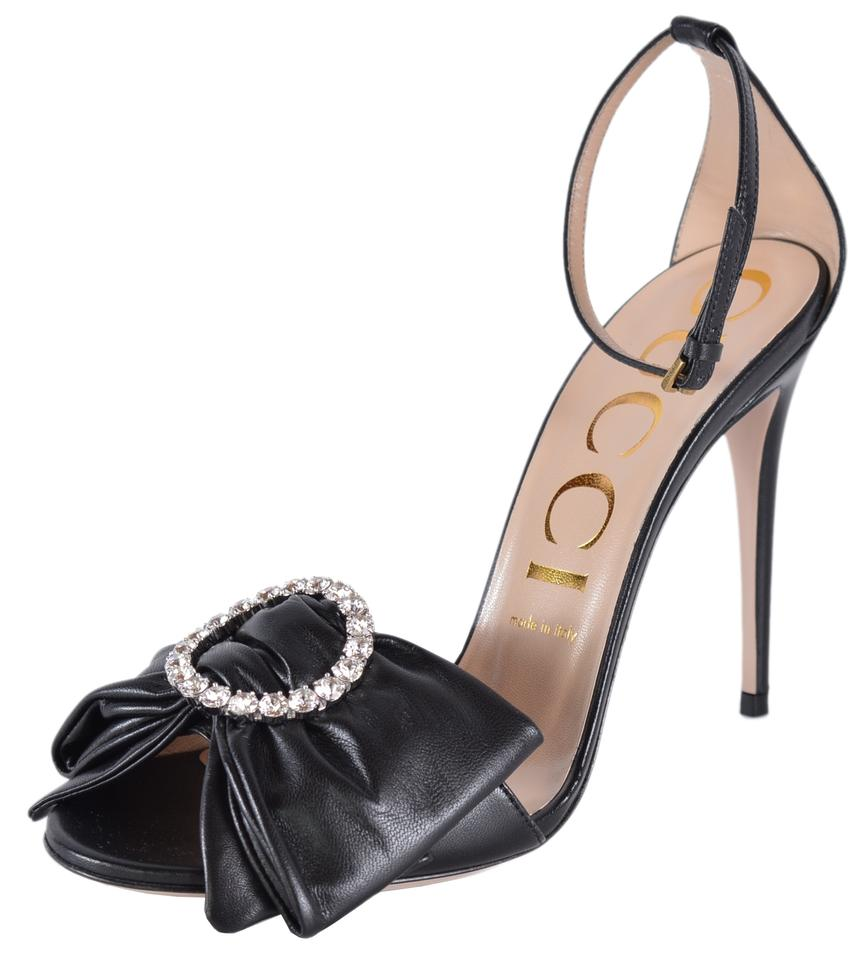 1c4740424 Gucci Black New 481162 Ilse Crystal Embellished Leather Bow Sandals ...