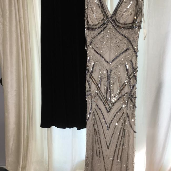 Item - Silver Sequins Beaded and On Two Layers Of Material Gown Sexy Bridesmaid/Mob Dress Size 8 (M)