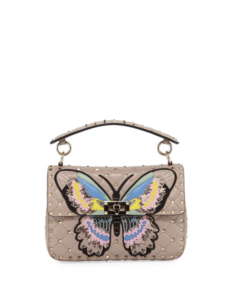 15aa9cd47e Valentino Medium Rockstud Spike It Butterfly Powder Leather Shoulder ...