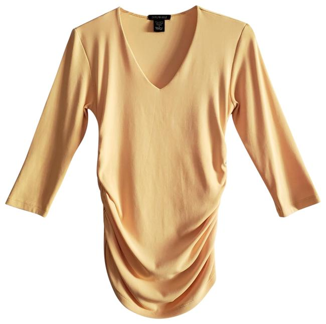 Item - Deep Yellow Ruched Three Quarter Sleeve Slim Fit 4 Way Stretch V Neck Top